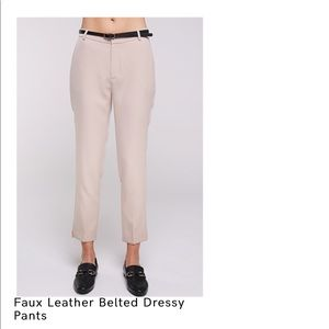 Faux leather belted dressy pants.